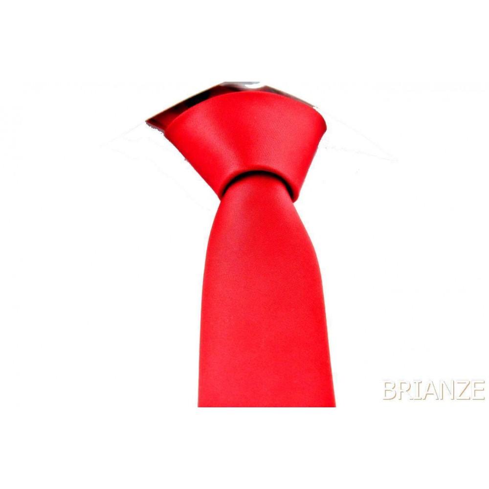 Brianze Kırmızı Slim Fit Dupont Saten Kravat DK-17