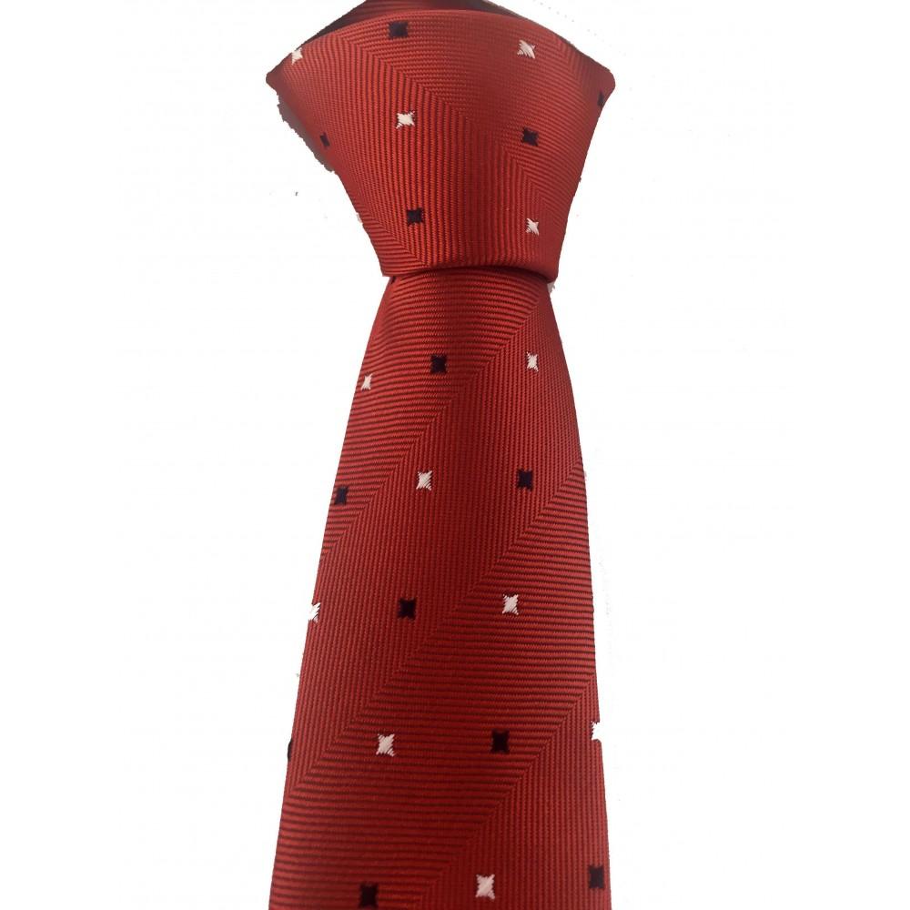 Brianze Siyah Beyaz Kareli Kırmızı Slim Kravat SKF-3