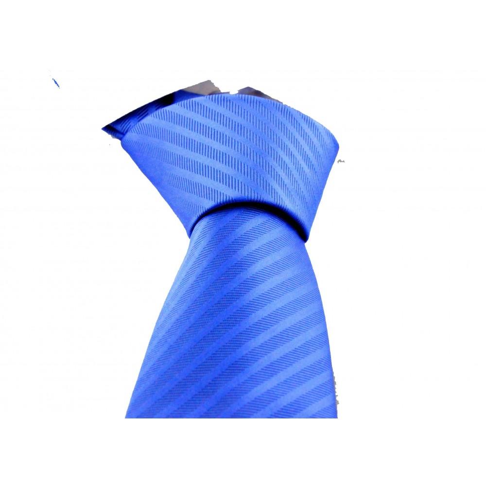 Brianze Mavi Çizgili Desen Mendilli Kravat MKM-4