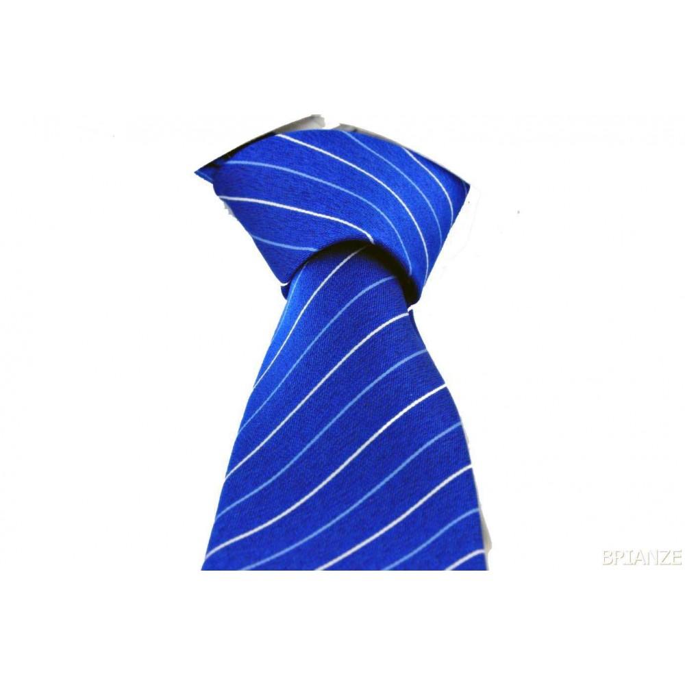 Brianze Mavi Beyaz Çizgili Mendilli Lacivert Kravat MKN-2