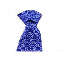 Brianze Beyaz Desenli Mendilli Mavi Kravat MKO-4