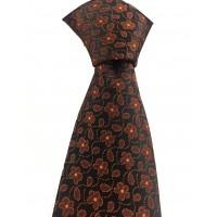 Brianze Turuncu Çiçek Desen Mendilli Siyah Kravat MKY-1