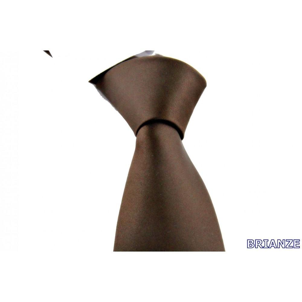 Brianze Kahverengi Dupont Saten Mendilli Kravat MDK-24