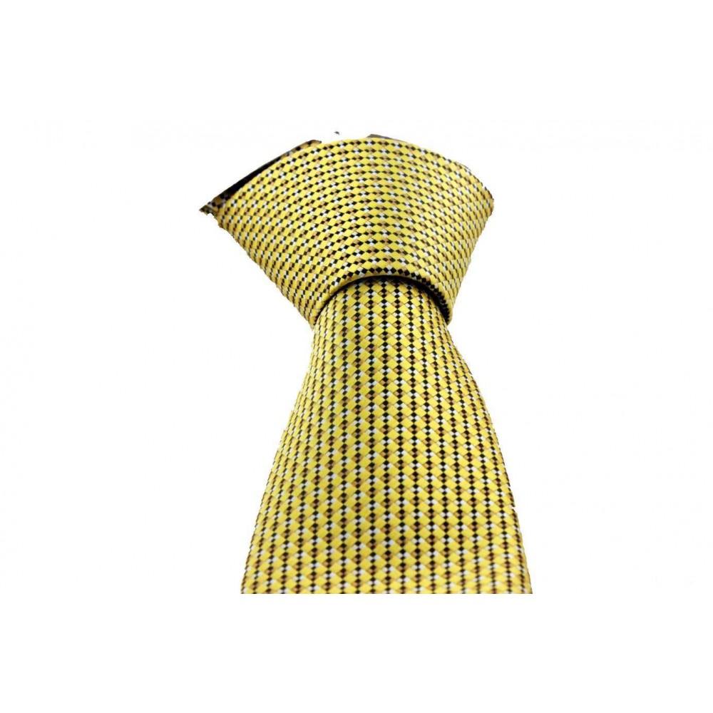 Brianze Sarı Desenli Mendilli Kravat MKL-3