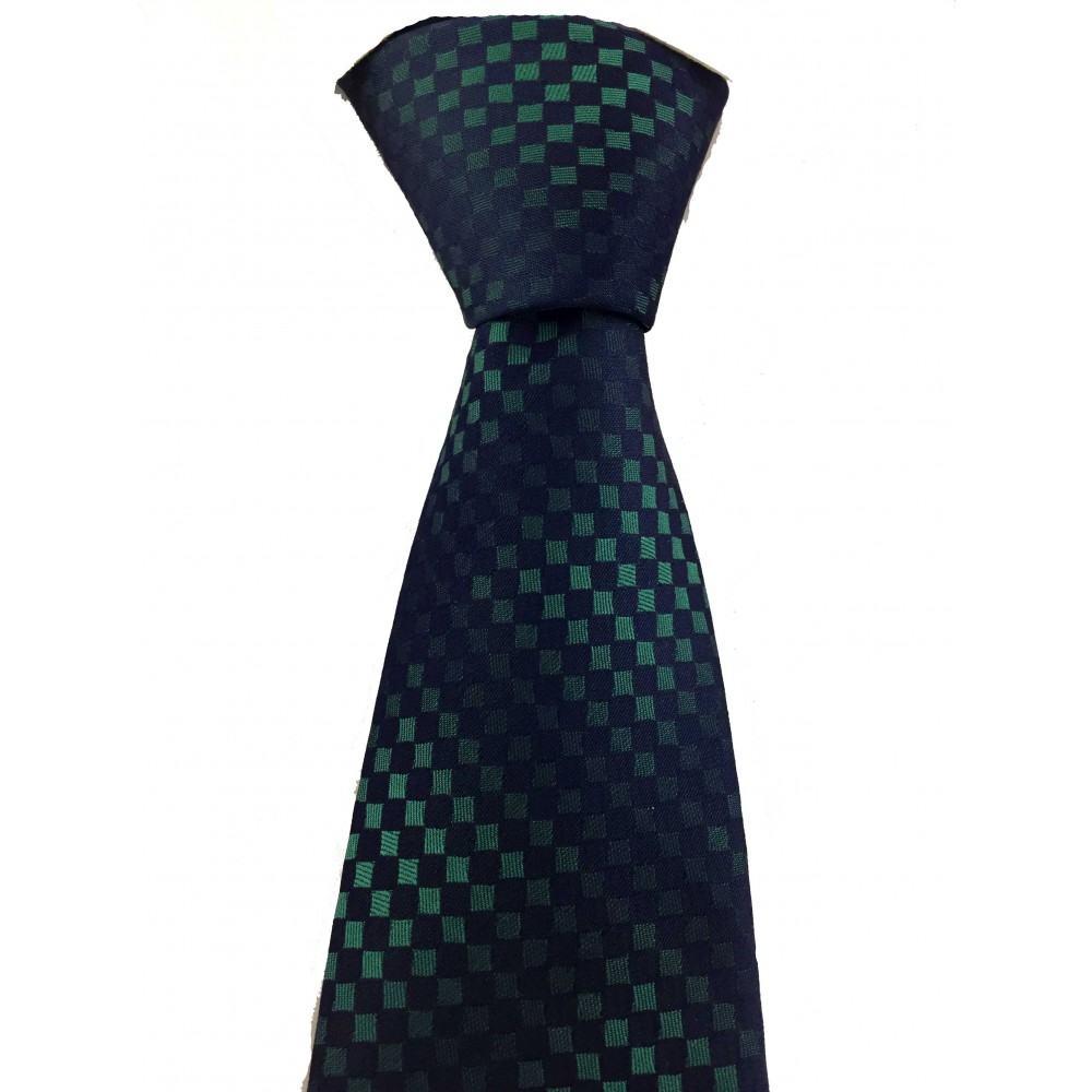 Brianze Yeşil Kareli Gölge Desen Lacivert Kravat MKS-4