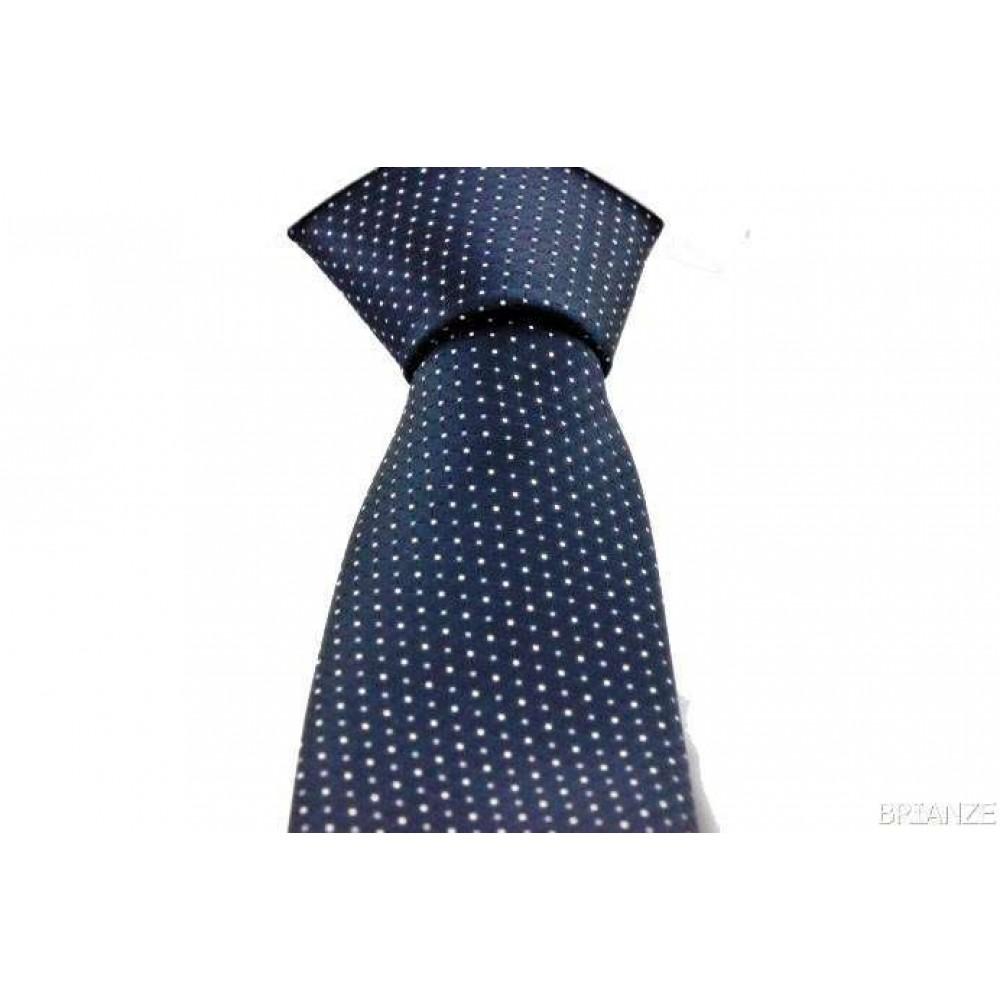 Brianze Gri Beyaz Desenli Mendilli Lacivert Kravat MKA-5