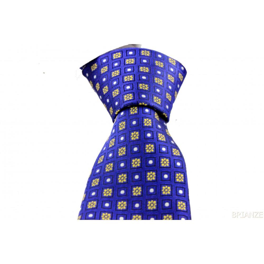 Brianze Sarı Çiçek Desen Mendilli Saks Mavi Kravat MKP-2