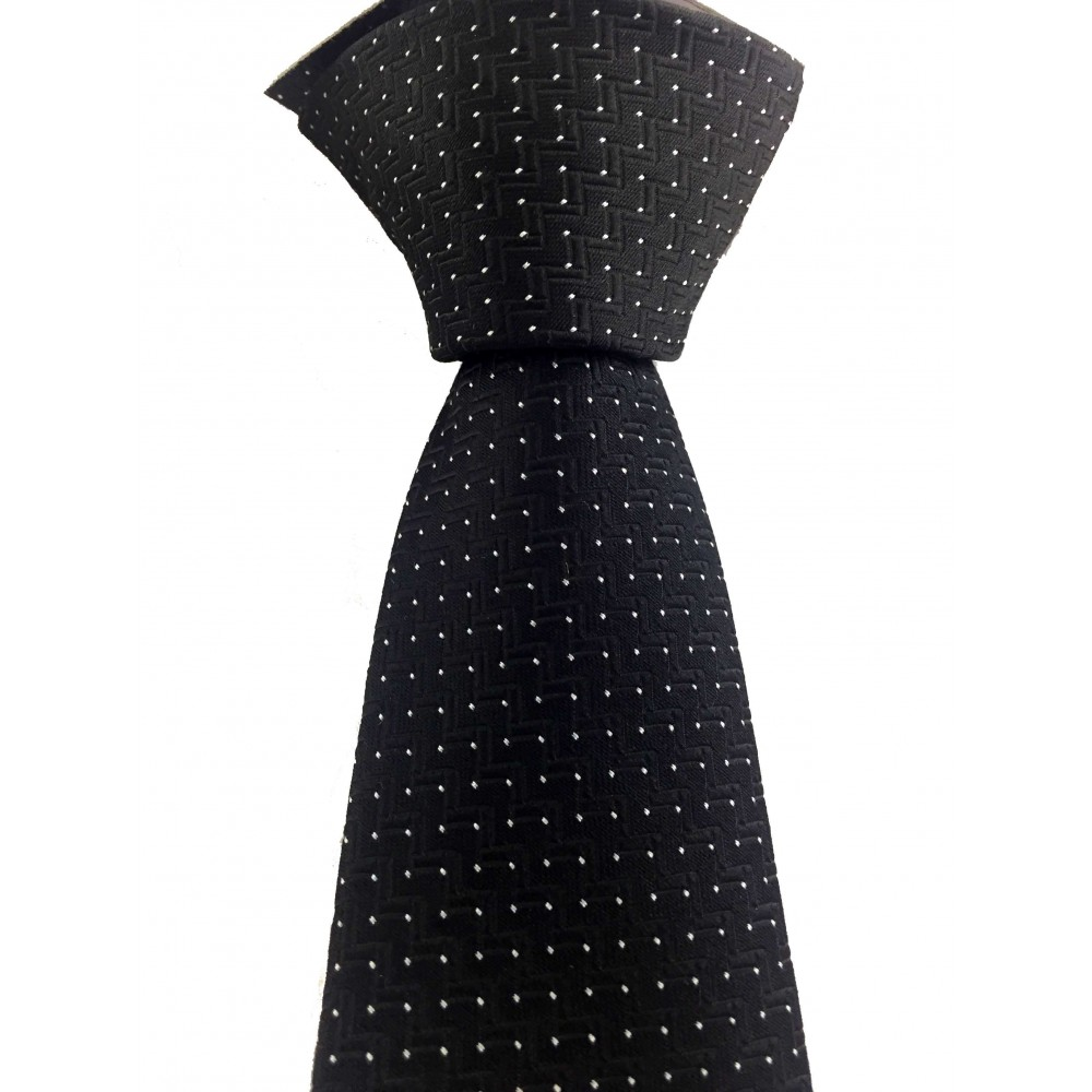 Brianze Beyaz Noktalı ve Geometrik Desenli Siyah Kravat MKV-3