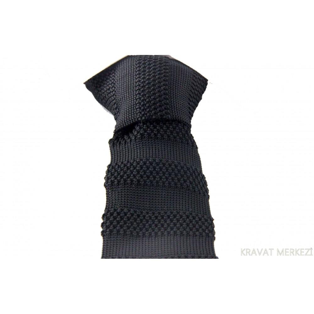 Brianze Siyah Kalın Çizgili Siyah Örgü Kravat OK-9