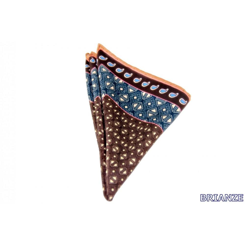 Brianze Kahverengi Mavi Kravat Mendili M-13