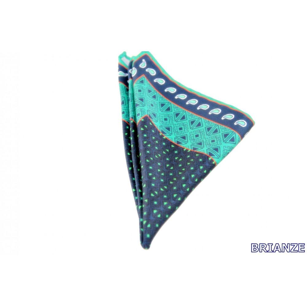 Brianze Lacivert Yeşil Kravat Mendili M-14