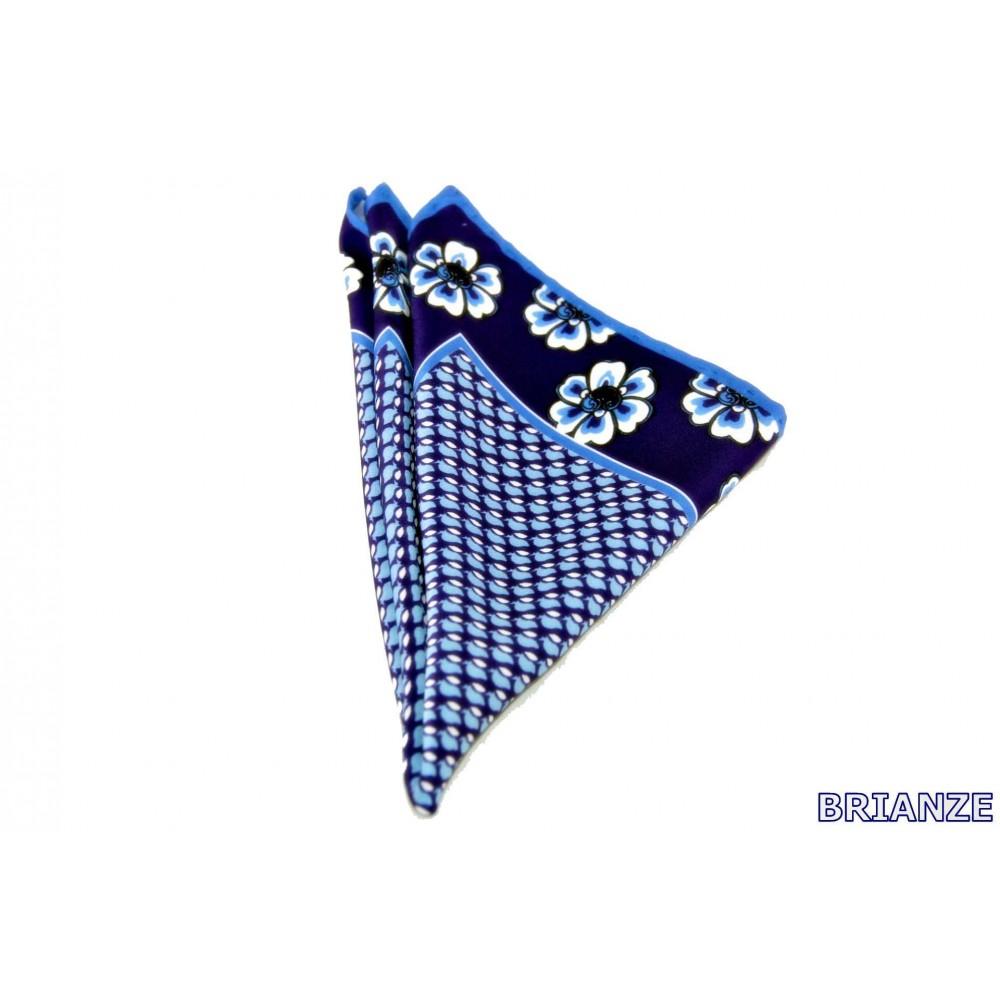 Brianze Çiçek Desen Lacivert Mavi Mendil M-15