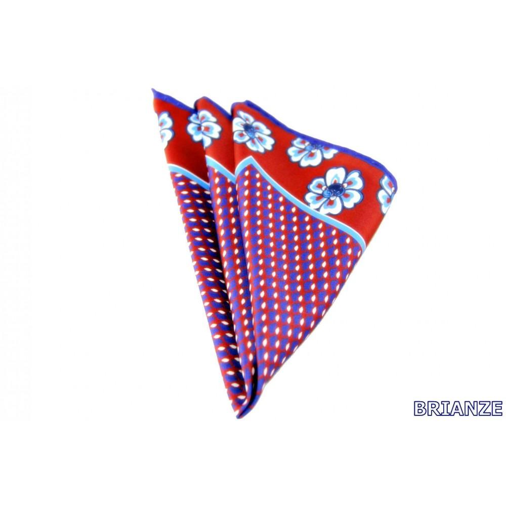 Brianze Çiçek Desen Kırmızı Mor Mendil M-16