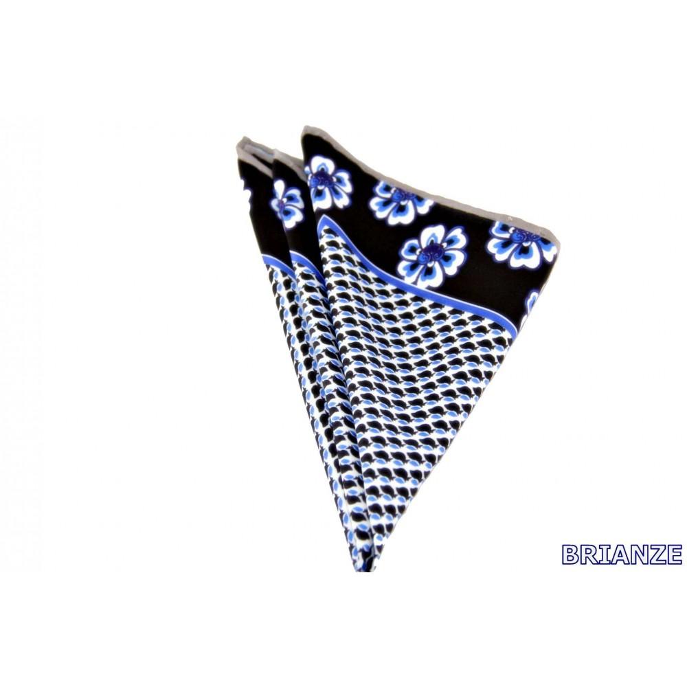 Brianze Çiçek Desen Siyah Lacivert Kravat Mendili M-18