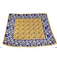 Brianze Sarı Mor Çiçek ve Şal Desen Kravat Mendili M-37