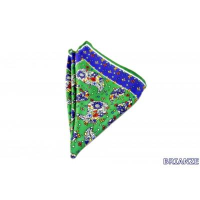 Brianze Şal Desen Lacivert Yeşil Mendil M-6