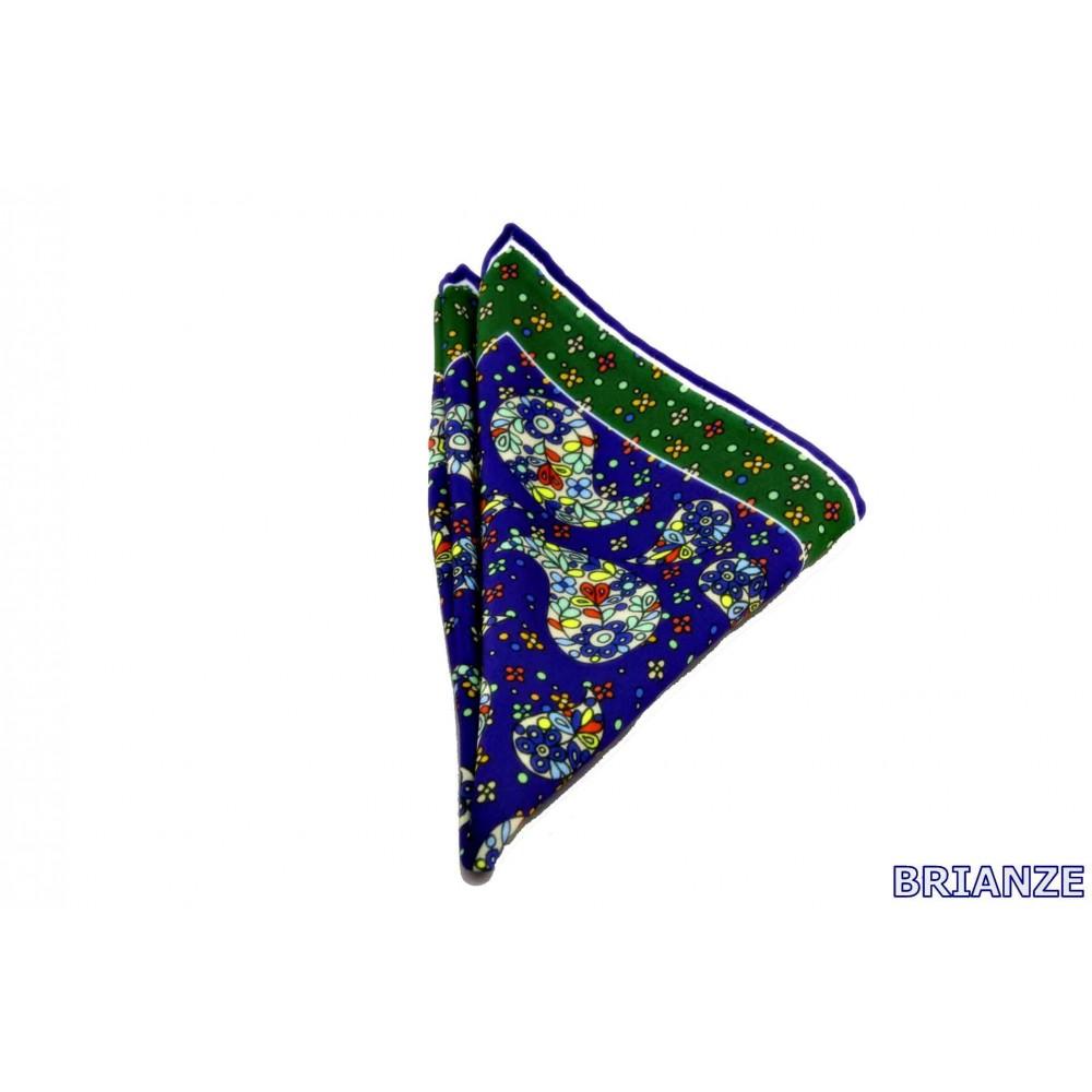 Brianze Şal Desen Lacivert Yeşil Mendil M-1