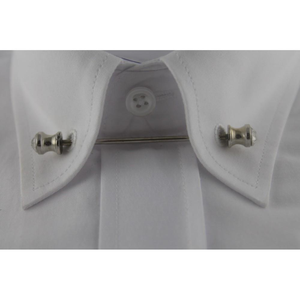 Brianze Gümüş Rengi Taşlı Gömlek Yaka İğnesi GY-13