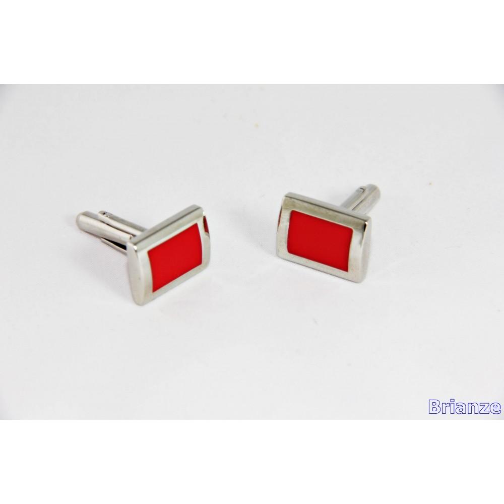 Brianze Kırmızı Dikdörtgen Kol Düğmesi KD-14