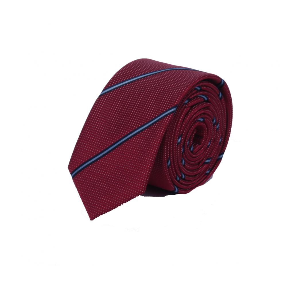 Brianze Mavi Çizgili Slim Kırmızı Noktalı Kravat SKO-3