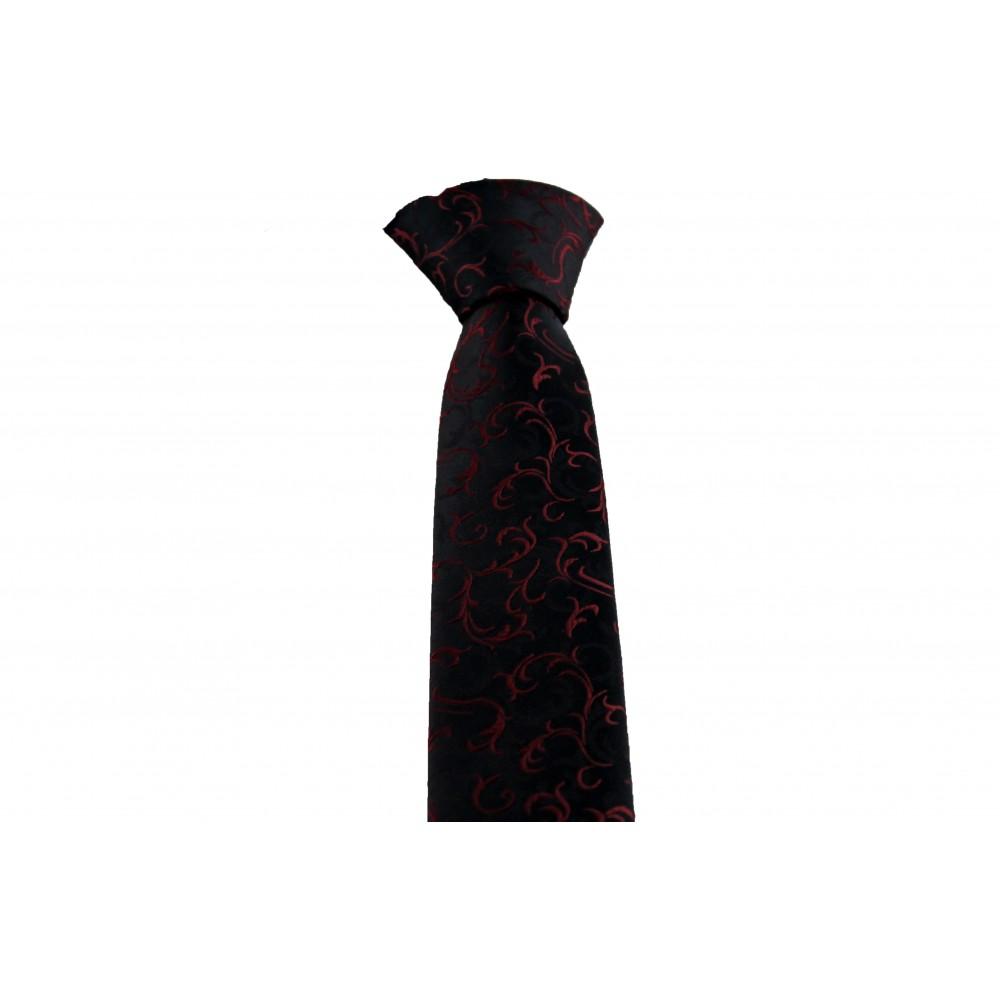Kırmızı Desenli Siyah Slim Kravat-Brianze SKZ-2