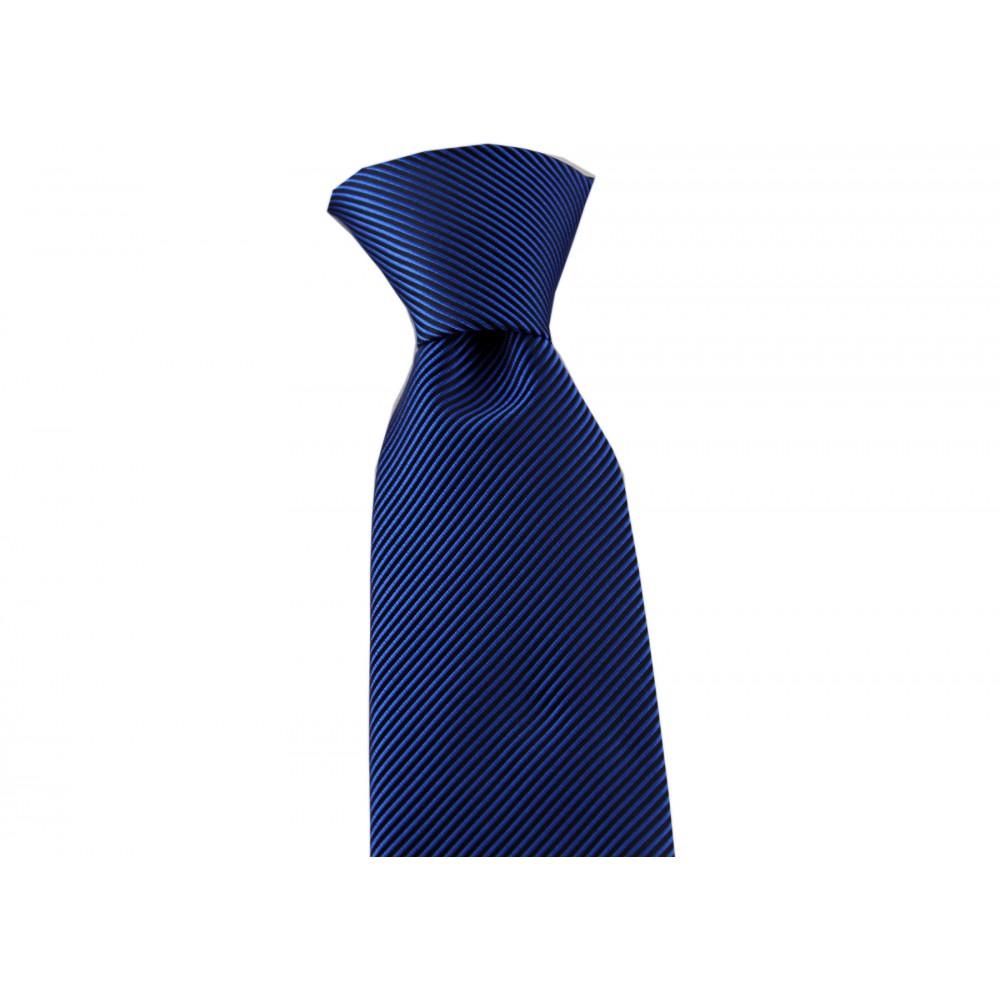 Brianze Saks Mavi Diagonal Çizgili Mendilli Kravat MKAK-4