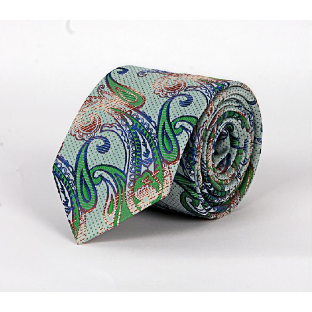 Brianze Yeşil Şal Desen Mendilli Kravat MKZ-5