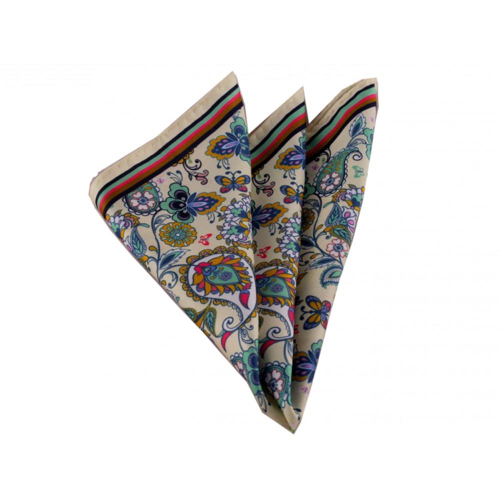 Brianze Renkli Çiçekli Krem Mendil M-56