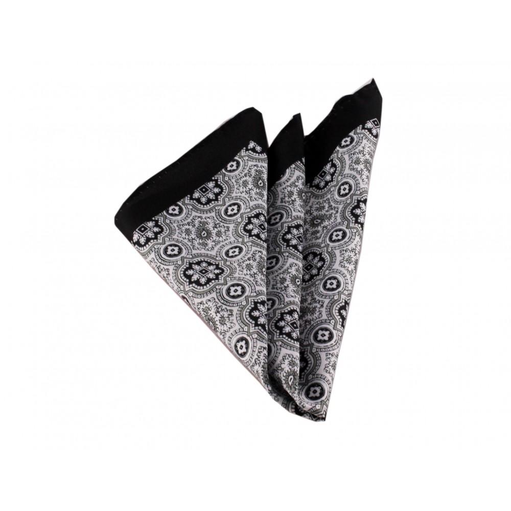Brianze Siyah Motif Desen Mendil M-50