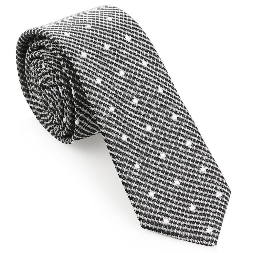 Beyaz Noktalı Slim Siyah Kravat-Brianze SKAI-2