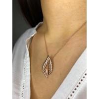 Brianze 925 Ayar Gümüş Yaprak Model Zirkon Taşlı Kadın Kolye