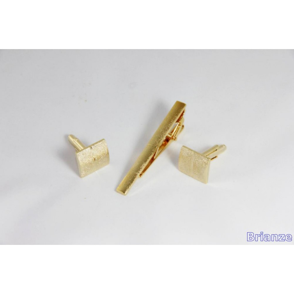 Brianze Altın Sarısı Kol Düğmesi ve Kravat İğnesi Set KD-17