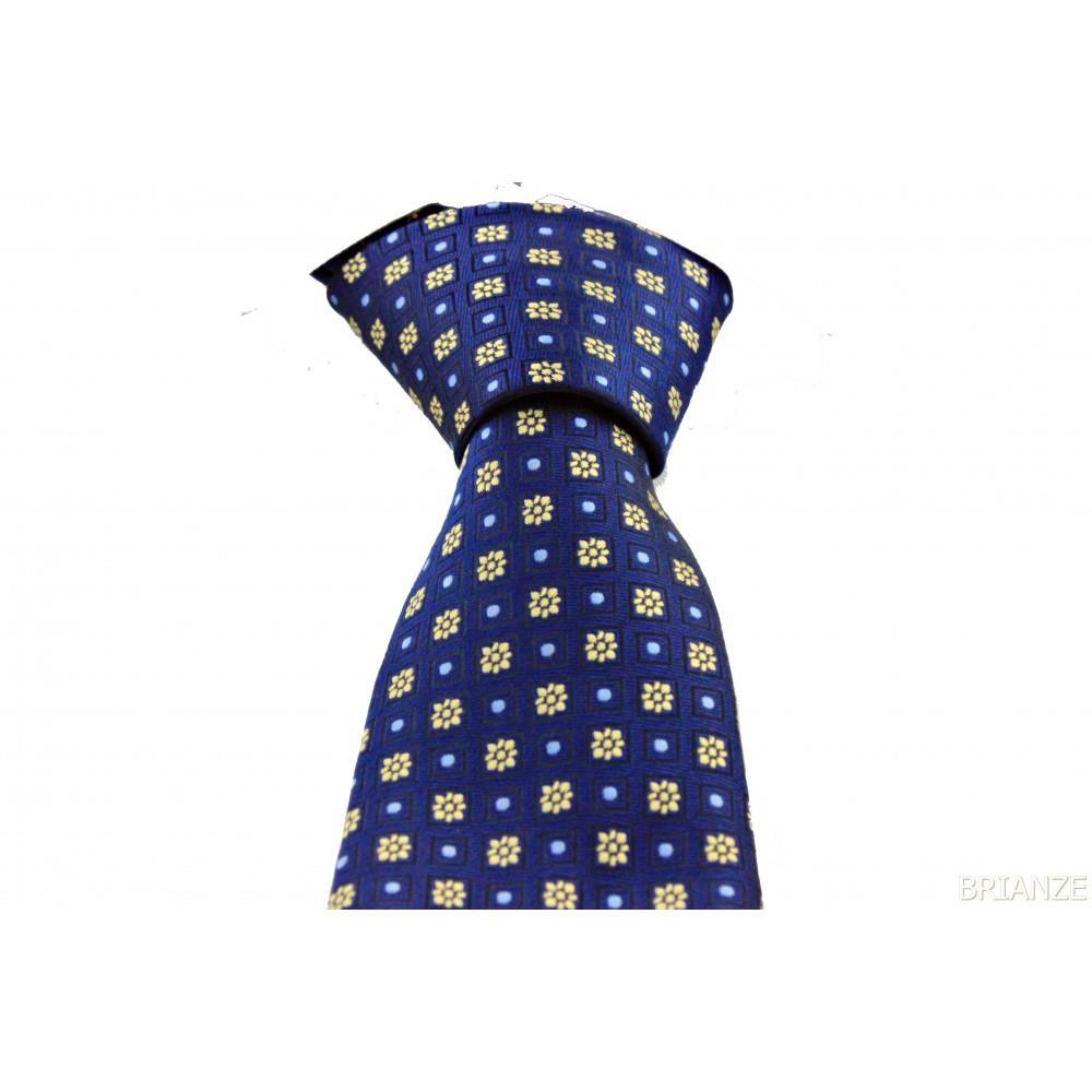 Brianze Altın Sarısı Çiçek Desen Lacivert Mendilli Kravat