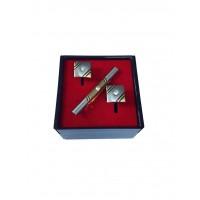 Brianze Altın Sarısı Renk Taşlı Kol Düğmesi ve Kravat İğnesi Set KD-77