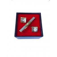 Brianze Altın Sarısı Renk Taşlı Kol Düğmesi ve Kravat İğnesi Set KD-78