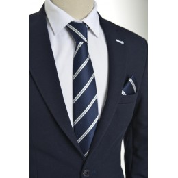 Brianze Beyaz Çizgili Lacivert Mendilli Kravat