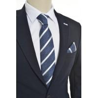 Brianze Beyaz Çizgili Mavi  Mendilli Kravat