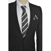 Brianze Beyaz Çizgili  Mendilli Kravat