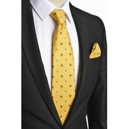 Brianze Çiçek Desen İtalyan Stil Sarı  Mendilli Kravat