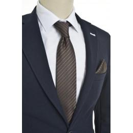 Brianze Çizgili Desen Kahverengi Mendilli Kravat