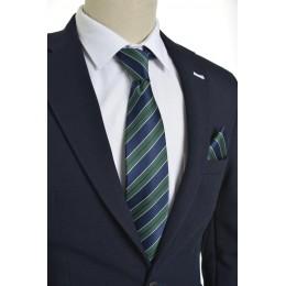 Brianze  Çizgili Lacivert Yeşil Mendilli Kravat
