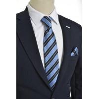 Brianze  Çizgili Mavi Siyah Mendilli Kravat