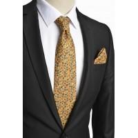Brianze Damla Desen İtalyan Stil Sarı Mendilli Kravat