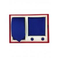 Brianze Damla Desen Koyu Mavi Kravat Mendil  Kol Düğmesi Kutulu Hediyelik Set