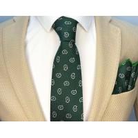 Brianze Damla Desen Yeşil Mendilli Kravat MKBG-3
