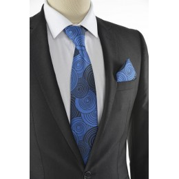 Brianze Geometrik Desen Mavi Mendilli Kravat