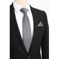 Brianze Gri Beyaz Noktalı Desen Mendilli Kravat