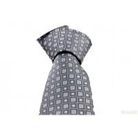 Brianze Gri Çiçek Desen Mendilli Kravat