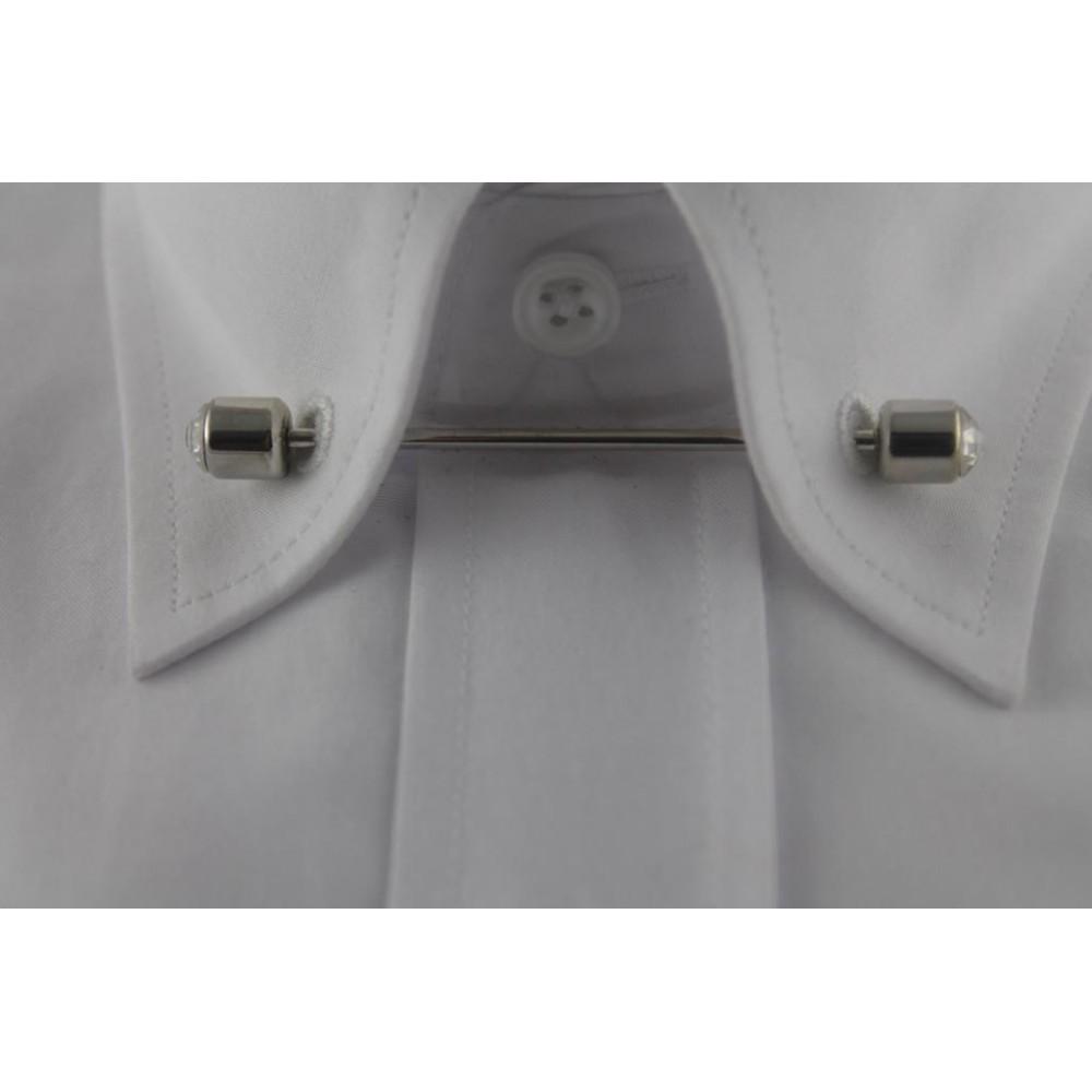 Brianze  Gümüş Rengi Taşlı Gömlek Yaka İğnesi GY-10