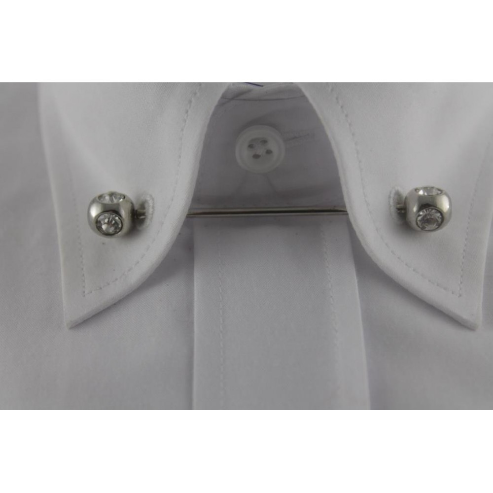 Brianze Gümüş Rengi Taşlı Gömlek Yaka İğnesi GY-8